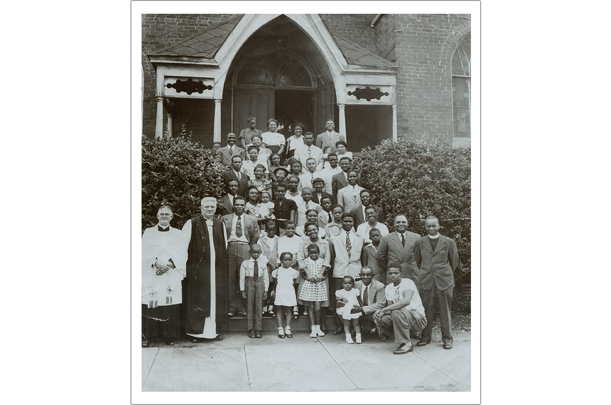 Reverend Fletcher (far left, front row) with one of his many African-American congregations. I decided to create the character of Abe after spotting the earnest little boy wearing the tie who stands near my grandfather in the front row.